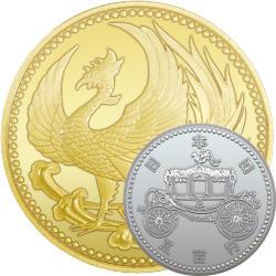 天皇陛下御即位記念貨幣セット 10万円金貨と500円白銅貨|表