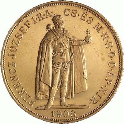 ハンガリー 1908年 フランツ・ヨーゼフ1世 100コロナ金貨|表
