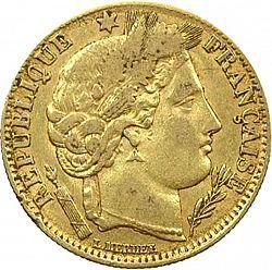 フランス 1899年 10フラン金貨(ケレス)|表