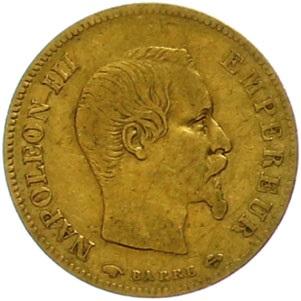 フランス帝国 1855年 ナポレオン3世 10フラン金貨|表