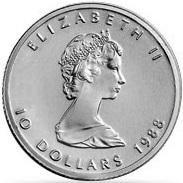 プラチナメイプルリーフコイン 1/4オンス|表