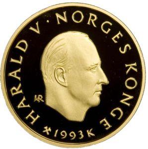 リレハンメル五輪記念 1500クローネ金貨 ハーラル5世 テレマークスキー|表