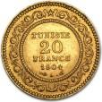 チュニジア 20フラン金貨|表