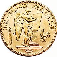 フランス 1886年 20フラン金貨(天使と雄鶏)|表