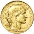 20フラン金貨(女神の横顔と雄鶏)|表