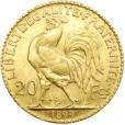 20フラン金貨(女神の横顔と雄鶏)|裏