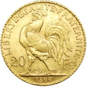 フランス 1899年 20フラン金貨(女神の横顔と雄鶏)|裏