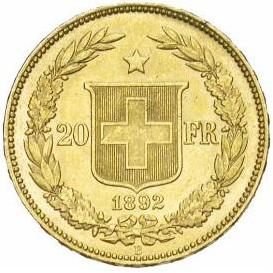 スイス 1892 20フラン金貨 ヘルヴェティア|裏
