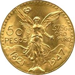 メキシコ 50ペソ金貨|表