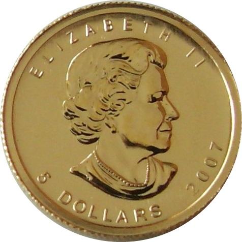 メイプルリーフ金貨 1/10oz(オンス)|表
