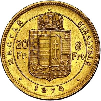 ハンガリー 1874 8フォリント金貨/20フラン金貨 フランツ・ヨーゼフ1世|裏
