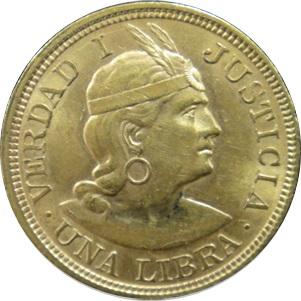 ペルー 1リーブラ金貨|表