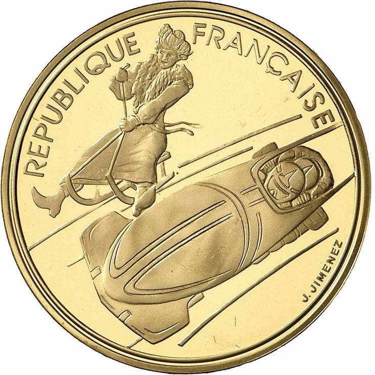 アルベールビル五輪記念500フラン金貨 (ボブスレーと良き時代のリュージュ)|表