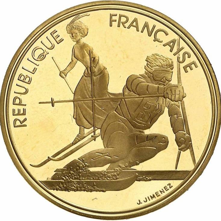 アルベールビル五輪記念500フラン金貨 (スラロームと良き時代のスラローム)|表