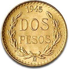メキシコ 2ペソ金貨|表