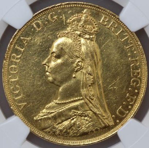 1887年 イギリス ヴィクトリア 5ポンド金貨 プルーフ|表