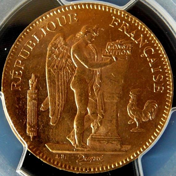 1904フランス エンジェル 50フラン金貨|表