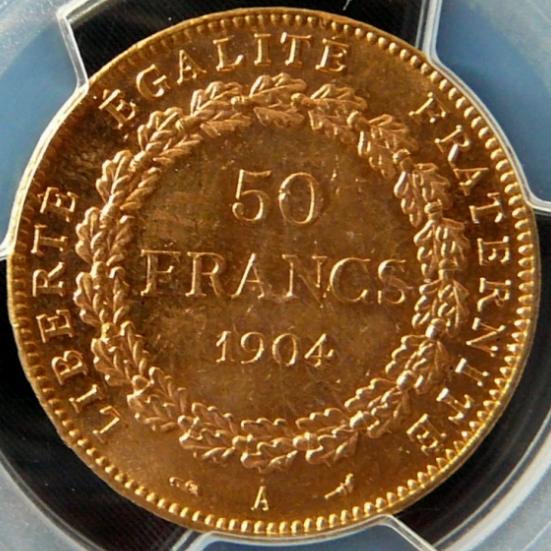1904フランス エンジェル 50フラン金貨|裏