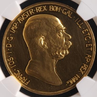 1908オーストリア フランツヨーゼフ100クローネ 金貨 PF|表