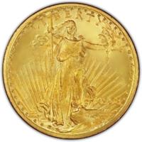 1908-1933 セントゴーデンズ 20ドル金貨 ウイズモットー MS|表