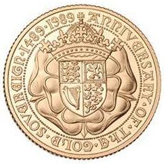 1989 ソブリン500周年記念 2ポンド金貨 Double Sovereign|裏