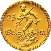 1923年 ポーランド ダンツィヒ 25グルデン金貨 PF65 CAMEO|表
