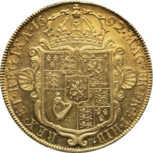 1694年 イギリス ウィリアム&メアリー 5ギニー金貨 XF45|裏