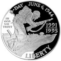 第二次世界大戦50周年記念 1ドル銀貨 表